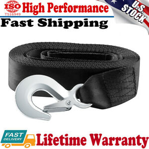 Heavy Duty Car Winch Strap Rope w// Hook for Large Boat Trailer 10000 Lb Max