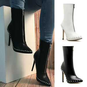 Women-039-s-Pointed-Toe-Rivet-Zipper-Ankle-Boots-High-Heel-Clubwear-Shoes-Stilettos