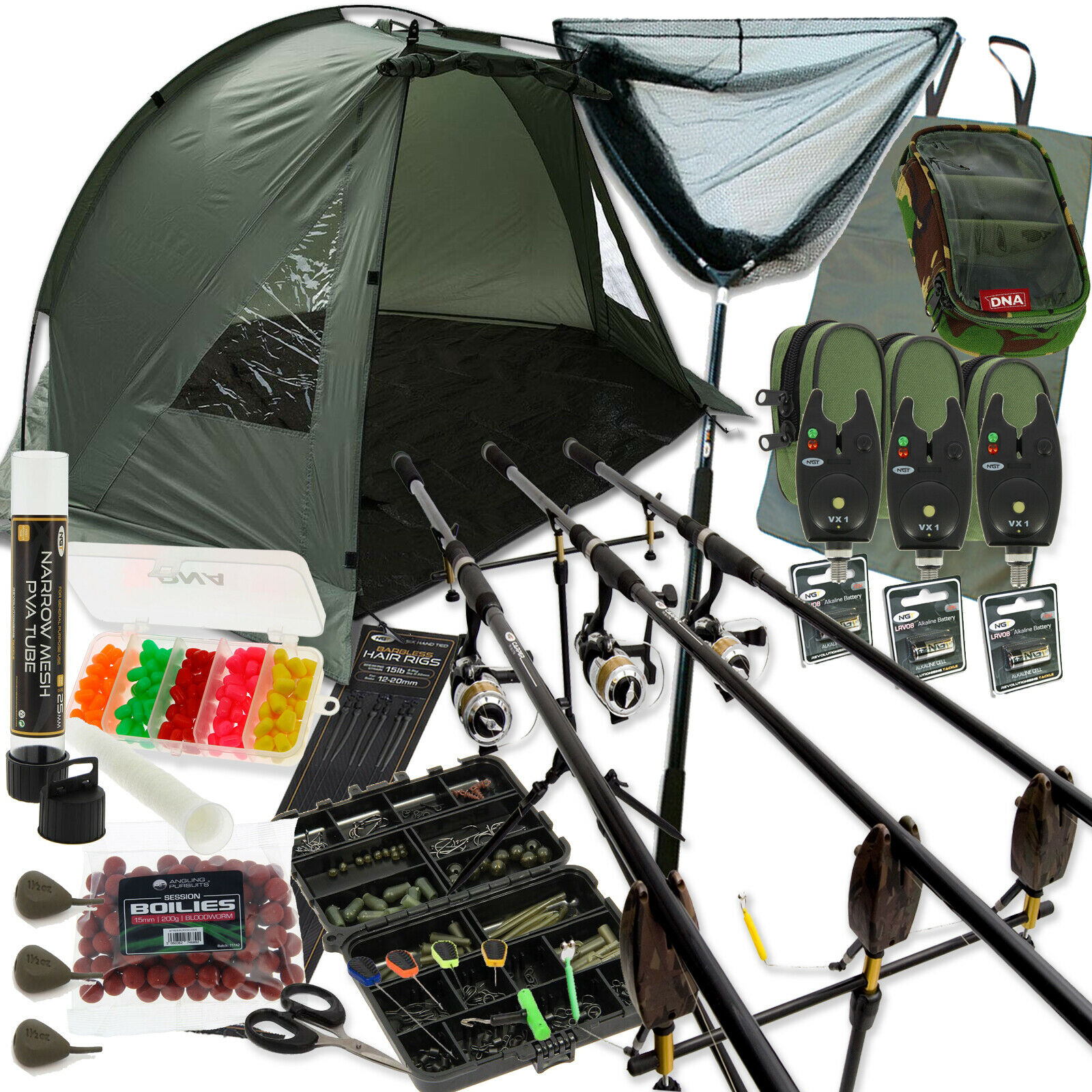 Complete Carp Fishing Set up with Shelter Bivvy Rods Reels Alarms Net & Tackle