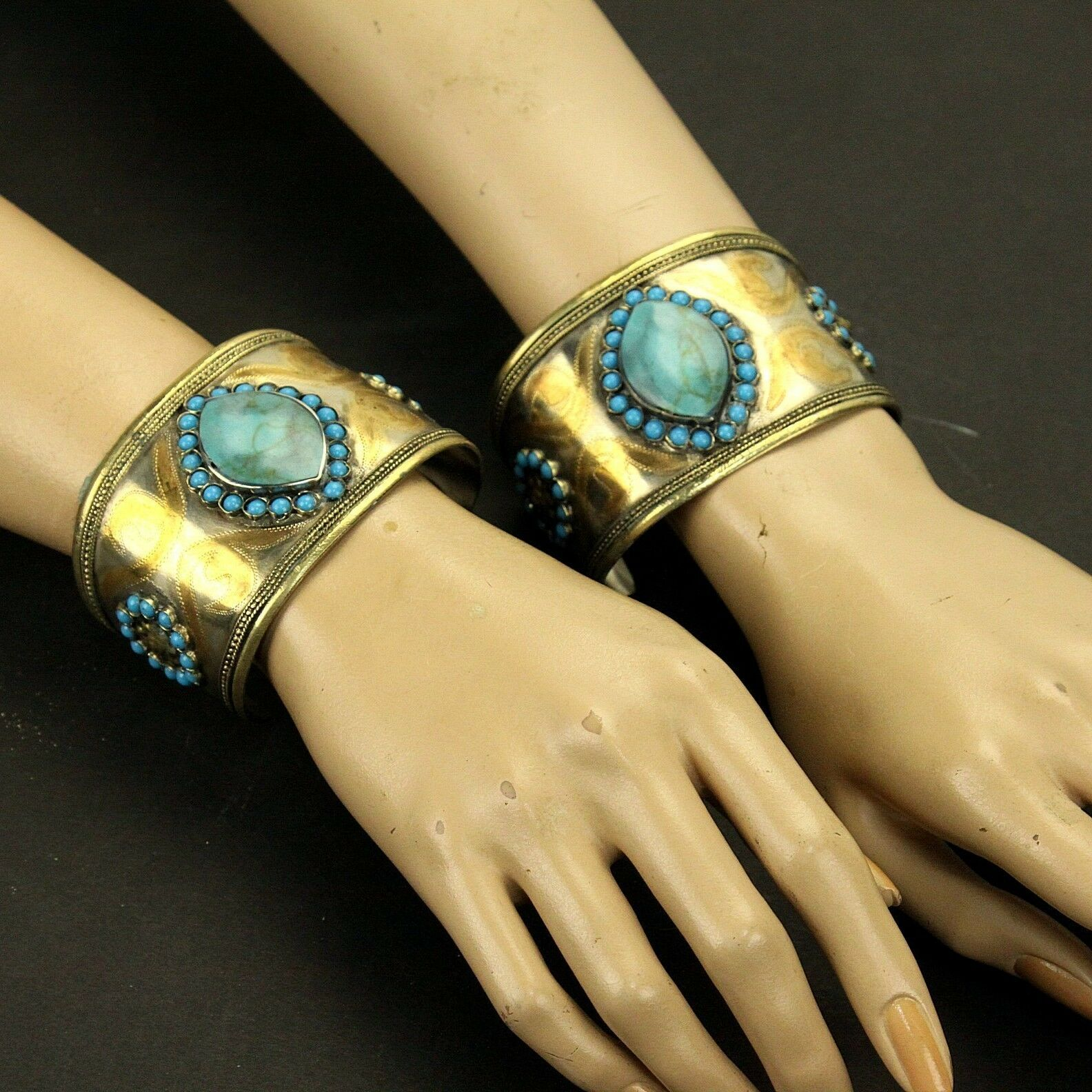 BRACELET Pair (2pc) Turkman Tribal gold Plated BellyDance Real TURQUOISE 838a44