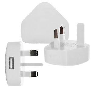 Blanco-3-Pin-USB-Reino-Unido-Cargador-Adaptador-De-Enchufe-Para-Samsung-Iphone-Ipod-Ipad-Air