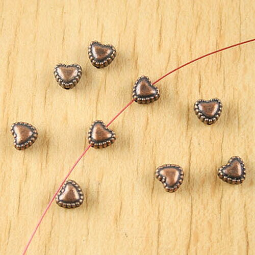 50pcs copper-tone heart spacer beads H2243