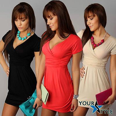 Women's Elegant V neck Short Sleeve Office Work Party Tunic Top/Mini Dress  0130