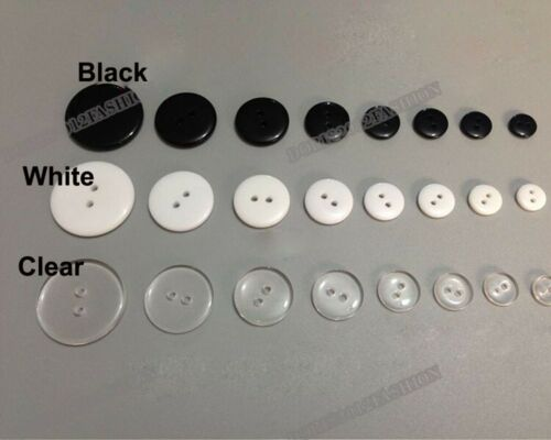 100pcs Resin Sewing Clothes Buttons Diy 2-holes Round white black clear 7.5-30mm