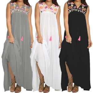 AU-Women-V-neck-Sleeveless-Boho-Floral-Plus-Size-Kaftan-Swing-Holiday-Long-Dress