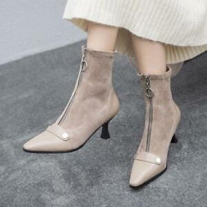 Women-Ankle-Boots-Med-Kitten-Heel-Front-Zipper-Pointed-Toe-Leather-Suede-Shoes