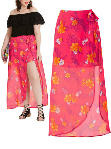 NEW ex Capsule PINK Floral Print SHORTS with Maxi SKIRT size 14 16 20 22 24 26