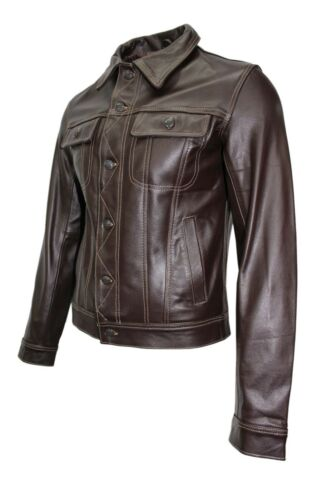 Trucker Jacket Men's Cowhide Shirt Leather Stylish Brown Real Classic Western rqrwAg