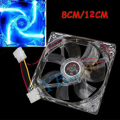 4Pin DC 12V 80mm /120mm Blue LED Light CPU PC Computer Cooling Cooler Case Fan