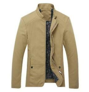 New-Men-039-s-fashion-casual-Spring-coats-collar-Slim-Short-thin-coat-Khaki-SizeXXS