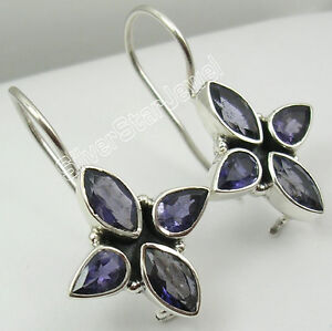 925-Sterling-Silver-NATURAL-IOLITE-4-STONE-BEAUTIFUL-STYLISH-Earrings-1-2-034-NEW