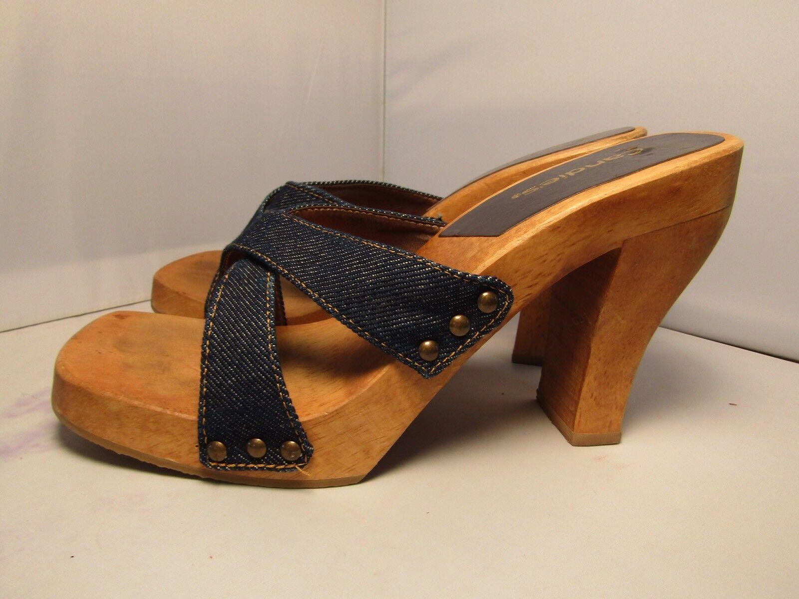 Vintage Candies Original Crisscross Blue Strappy Sandals Heels Slides Sexy 8