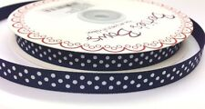 3m Bertie's Bows Navy Blue with White Polka Dot 9mm Grosgrain Ribbon, Craft Wrap