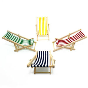 Miniature-Dollhouse-Fairy-Garden-Lounge-Sand-Chair-Stripes-Beach-Chaise-Dulcet