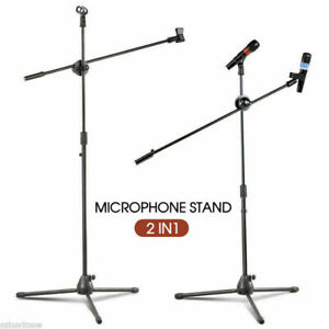 Adjustable-Microphone-Stand-Foldable-Mic-Holder-Tripod-Two-Clip-Boom-AU-STOCK