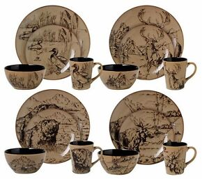 Image is loading Casual-Dinnerware-Sets-for-4-8-12-Cabin-  sc 1 st  eBay & Casual Dinnerware Sets for 4-8-12 Cabin Lodge Rustic Decor Mossy Oak ...
