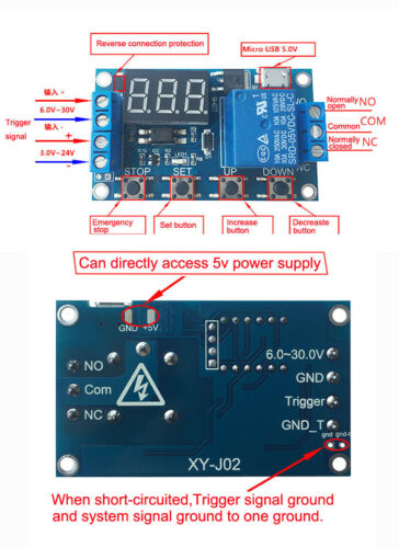 DC 5V-36V  Relay Module Delay Timer Control Turn ON//OFF Switch LED Display