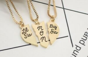 3c58fa1714 3 pc Mother Big Little Sis Sister Necklace Matching Heart Friendship ...