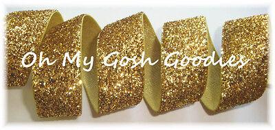 7/8 METALLIC GLITTER SHIMMER SPARKLE GLITZ BLING VELVET RIBBON 4 BOW GOLD 5YD