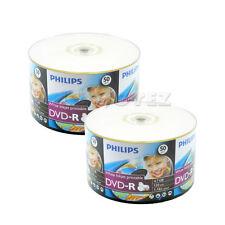100 Pack Philips Blank 16x White Inkjet Hub Printable DVD-R Disc For Video Movie