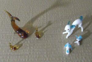 Figuras-Vintage-70-034-lote-miniaturas-famila-ballenas-ciervos-cristal-porcelana