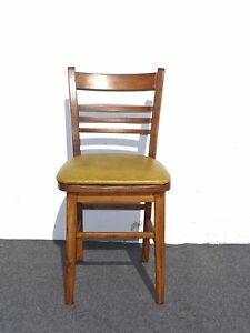 ANTIQUE-FARMHOUSE-Style-WOOD-ACCENT-CHAIR-YELLOW-Mustard-VINYL-SEAT-Side-Chair