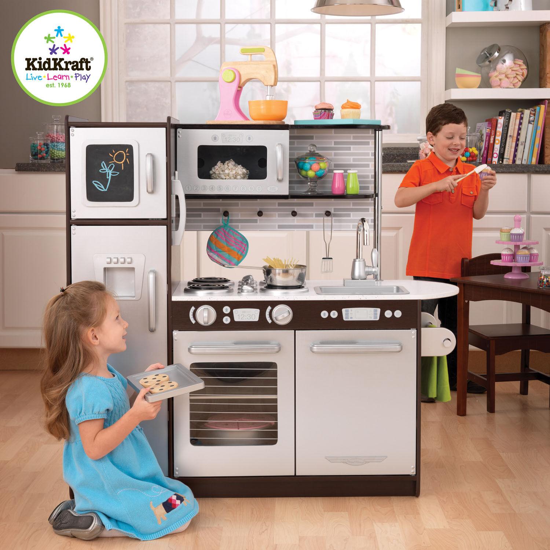 Details about KidKraft Kids Wooden Uptown Espresso Kitchen Pretend Play  Fridge Cooking 53260
