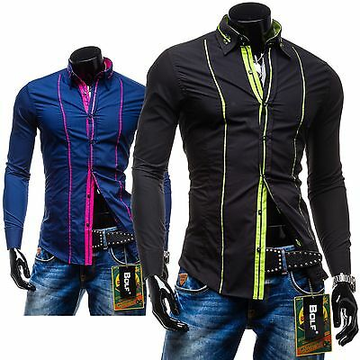 Bolf 2964 Herrenhemd Freizeit Langarm Slim Fit Casual Wear Shirt  Men 2B2 Polo