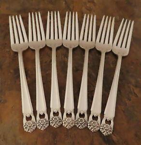 IS-Eternally-Yours-7-Dinner-Forks-1847-Rogers-Vintage-Silverplate-Flatware-E