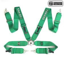 "Universal Green 4 Point Camlock Quick Release Racing Seat Belt Harness 3"" TKATA"