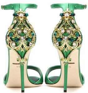 Chaussures ouvert en femmes et en hauts bout mariée hauts talons à satin de talons Stilettos métal à pour WD2YIEH9