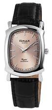 Omax Damenuhr Schwarz Silber Analog Metall Leder Armbanduhr D-60356116091490