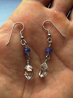 Stunning Herkimer Diamond & Tanzanite Sterling Silver Earrings-natural Herks Ny