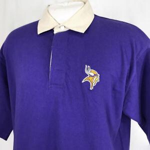 fc03d363 Minnesota Vikings NFL Men Polo Shirt Size Large Cotton Purple Short ...