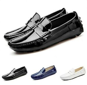 Mens-Flats-Casual-Pumps-Slip-On-Patent-Leather-Driving-Shoes-Moccasins-Size-6-12