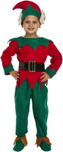 CHILDREN ELF SANTAS LITTLE HELPER BOYS SANTA CHRISTMAS PARTY FANCY DRESS COSTUME