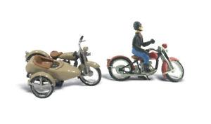 Woodland-Scenics-D228-Motorrad-amp-Seitenwagen-Figuren-H0-1-87