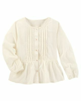Oshkosh B'gosh Infant Girls' White Pleated Top With Lace Nwt Shirt Blouse An Indispensable Sovereign Remedy For Home Baby & Toddler Clothing