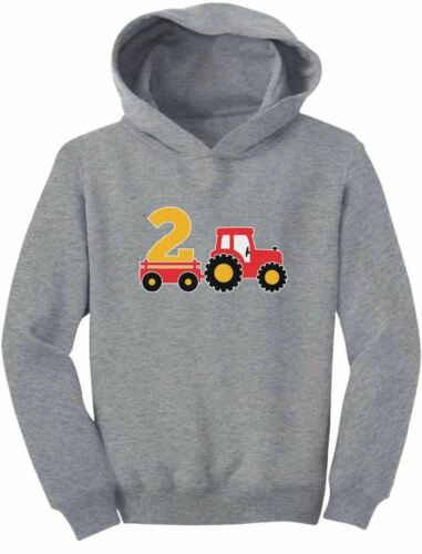 2nd Birthday Gift Tractor Construction Party 2 Year Old Boy Toddler Hoodie