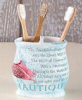 Coastal Retreat Bathroom Toothbrush Holder Seashell Beach Nautical Bath Decor