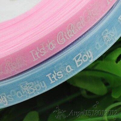 "Upick 5Y or 20Y  1/2"" Organza ribbon Boy/girl baby show Craft Pink&Blue"