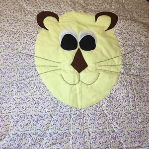 Lion-Applique-Quilt-Wall-Hanging-Yellow-Purple-Flowers-51-034-x-41-034-Polycotton