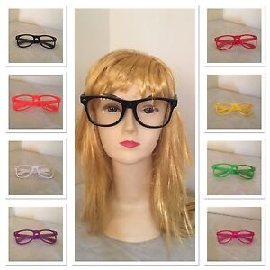 Glasses-Clear-Lens-Nerd-Geek-Party-Black-Green-Red-Yellow-Hot-pink