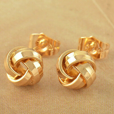 Lovely 9K Solid Gold Filled Womens Love-Knot Stud Earrings,Z3578