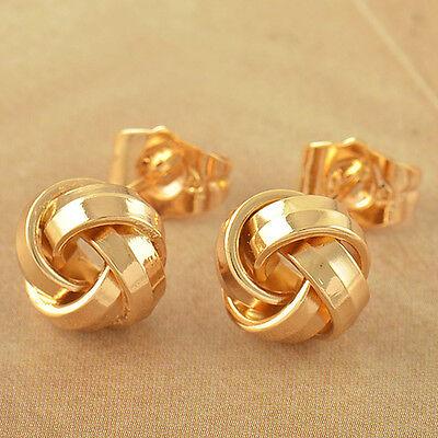 Lovely 9K Solid Gold Filled Womens Love-Knot Stud Earrings,Z3578