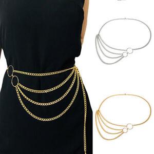 Elegant Metal Chain Belt High Waist Hip Coin Charms Waistband Body Chain Lady