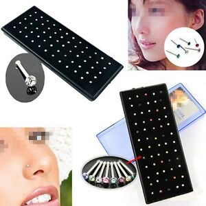 60x-Crystal-Rhinestone-Surgical-Steel-Body-Piercing-Jewelry-Nose-Ring-Bone-Stud