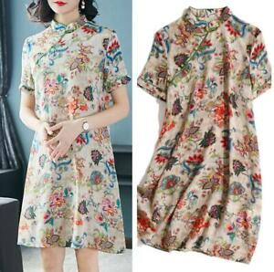 Women-Silk-Floral-Embroidery-Dress-Cheongsam-Chinese-Summer-Satin-Dresses-Qipao