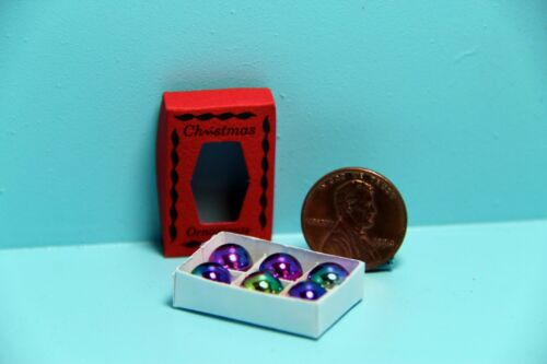 Dollhouse Miniature Christmas Ornaments in a Box Multi Color ~ IM65124