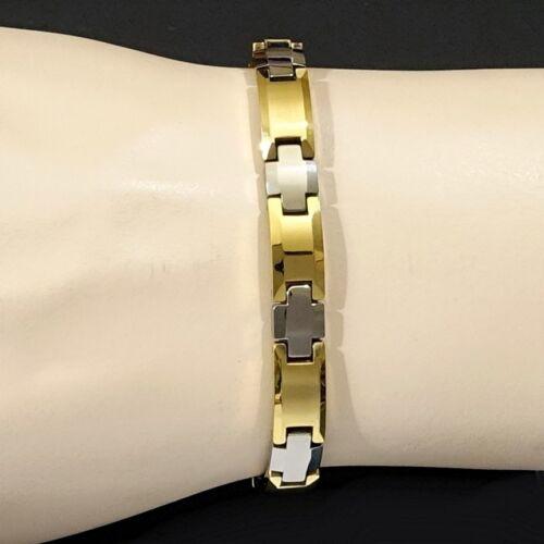 Magnético Tungsteno Unisex Artritis alivio 24k 2tone Gold Fill /& Rodio Pulsera